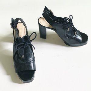 NWT Zara Leather High Heel Platform Sandals